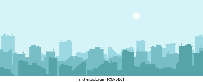 Silhouette of the city. Cityscape background. Simple blue texture. Urban landscape. For banner or template. Modern city with layers. Flat style vector illustration.