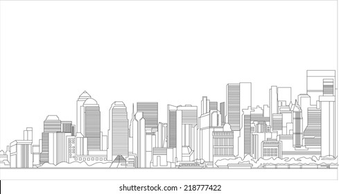Silhouette of a city.  Flat design vector illustration concepts.