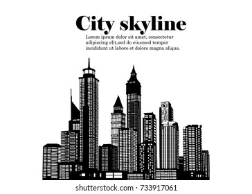 The silhouette of the city in a flat style. Modern urban landscape.