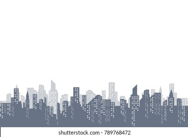 Silhouette of the city in a flat style. Modern urban landscape. Vector illustrations. City skyscrapers building office horizon on a transparent background.