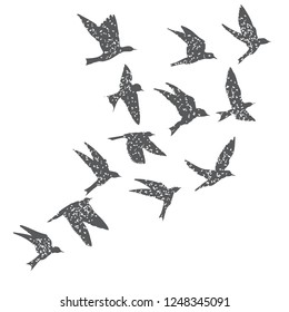 Silhouette of city flying birds on white background. Inspirational body flash tattoo ink. Set of textured stipple grey birds fly swallows, hand made. Vector.