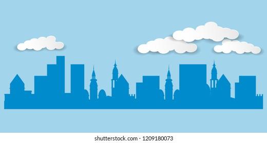 Silhouette of a city landscape. Vector illustration EPS10