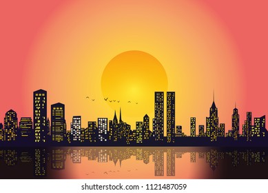 Silhouette of the city in late evening and evening sky with setting sun. vector illustration