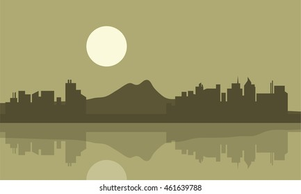 Silhouette of city and mountain backgrounds landscape