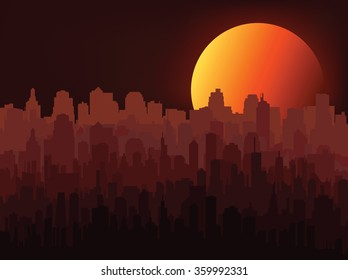 Silhouette of the city at night
