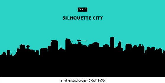 silhouette city on blue background. The flat vector illustration.