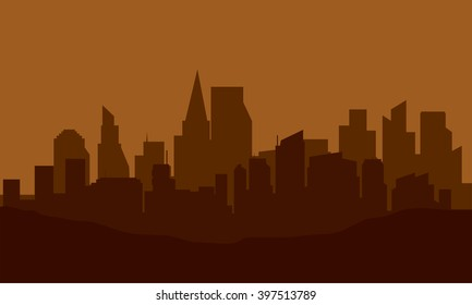 Silhouette of city on the hills