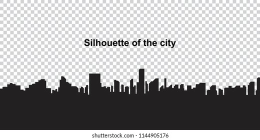 The silhouette city on a transparent background. Flat vector illustration EPS10.
