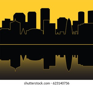 Silhouette of city on yellow background. Vector illustration of urban landscape in flat style
