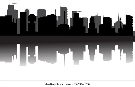 Silhouette of the city from the river