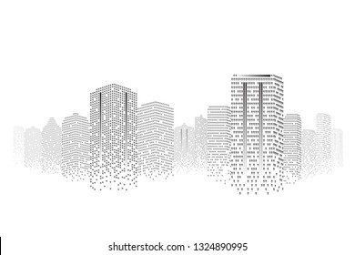 Silhouette city scape Isolated or white background. Modern flat design. Futuristic technology concept. Eps10 Vector illustration.