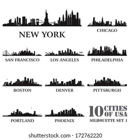 Silhouette city set of USA #1. Vector illustration
