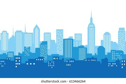 silhouette of city skyline, Cityscape in blue color and white sky background