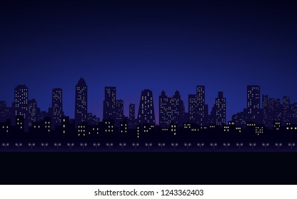 silhouette of city skyline and street lamp at night in black blue color sky background