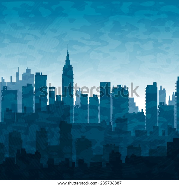 Silhouette of city structure downtown urban modern street of architecture with a building, tower, skyscraper. Cityscape  skyline landscape  background for business concept illustration