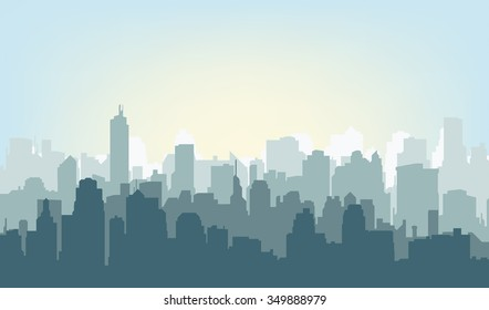 Silhouette of the city at sunrise