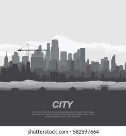 The silhouette city with tower crane and a bus stop.. Flat vector illustration EPS10