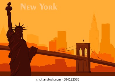 the silhouette cityscape. Attractions in New York