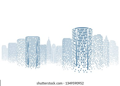 Silhouette cityscape Isolated or white background. Modern flat design. Futuristic technology concept. Eps10 Vector illustration.