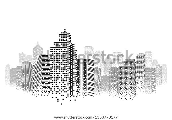 Image Vectorielle De Stock De Silhouette Paysage Urbain Isole Ou Arriere Plan 1353770177