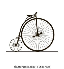 Silhouette of classic vintage bike isolated on white background.