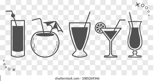 silhouette of cocktail drinks with a drinking stick . Icon in linear style