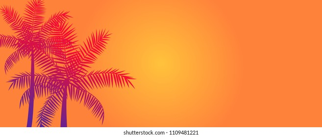 Silhouette coconut palm trees, summer tropical banner vector background