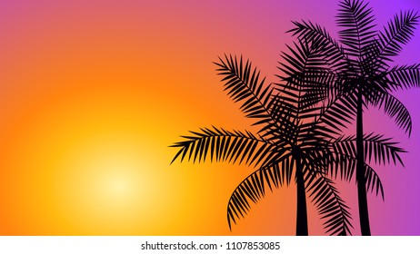 Silhouette coconut palm trees at sunset, summer tropical banner vector background