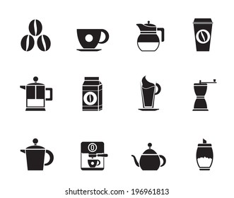 Silhouette coffee industry signs and icons - vector icon set