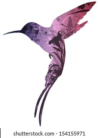 silhouette of colibri in tropical flowers, grass and insects. white background, vector illustration