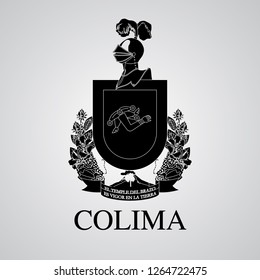 Silhouette of Colima Coat of Arms. Mexican State. Vector illustration