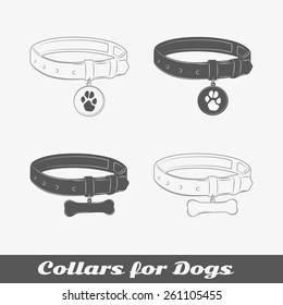 Silhouette collars for dogs. Isolated items. Vector illustration