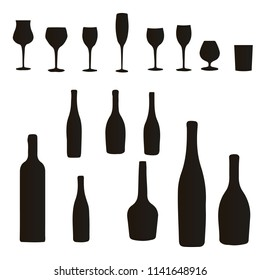 Silhouette of a collection of bottles and wine glasses with a cocktail, on white background, for design, vector