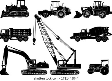 Silhouette of collection heavy vehicle for construction & building