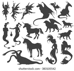 Silhouette collection of mythological animals, people, monsters, creatures... Fairy, elf, nymph, magician, unicorn, gin, dragon, hydra, chimera, mermaid, griffin...Hand drawn vector illustration, set.