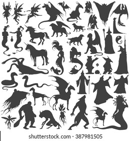 Silhouette collection of mythological people, monsters, creatures: Fairy, elf, nymph,magician,unicorn,gin,dragon,hydra,chimera,mermaid,griffin,sphinx,vampire...Hand drawn vector illustration,set.