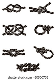 Silhouette collection of seven knots: from left to right - top to bottom: 1. Figure of Eight Knot, 2. Sheet Bend, 3. Carrick Bend, 4. Hammock Knot, 5. Reef Knot, 6. Bowline, 7. Surgeon's Knot