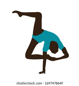 silhouette in colored clothes gymnast