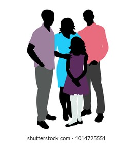 silhouette in colored family clothes