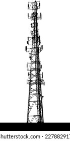 A silhouette of a communications tower.