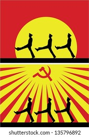 Silhouette of communist soldiers marching, vector