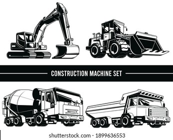 Silhouette Construction Machine Heavy Industrial Vehicle