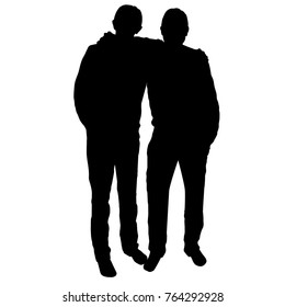Silhouette, a contour of black color of two guys, brothers who embrace.Two friend.