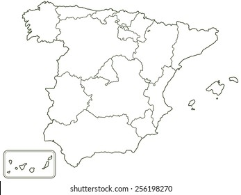 royalty free spain map outline images stock photos vectors Printable Blank Map of Spain silhouette contour border map of the spain all objects are independent and fully editable