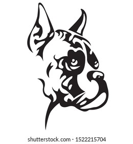 Silhouette, contour of the dog muzzle Boxer breed of black color on a white background surrounded by lines of various widths. Logo dog boxer head. Vector illustration