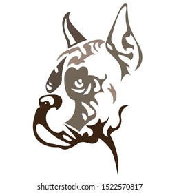 Silhouette, contour of a dog muzzle breed Boxer of brown color on a white background surrounded by lines of various widths. Logo dog boxer head. Vector illustration