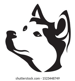 Silhouette, contour of the dog muzzle of the Husky breed in black on a white background, surrounded by lines of various widths. Husky head dog logo. Vector illustration