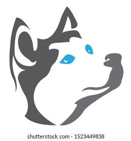Silhouette, contour of the dog muzzle husky breed gray color on a white background, surrounded by lines of different widths. Husky head dog logo. Vector illustration