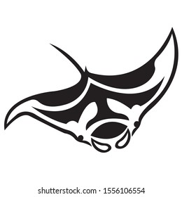 The silhouette, contour of the fish stingray of black color on a white background is drawn by lines of various widths. Stingray fish logo. Vector illustration