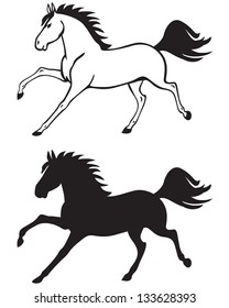 Silhouette and contour image of a beautiful horse galloping